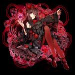 紅い薔薇と少女 透過素材