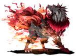 炎を纏う狼型モンスター 透過素材
