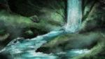 【背景】森の奥の滝の背景