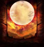 【背景】赤い空と満月の背景 2パターン