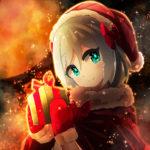サンタ衣装の少女 透過素材