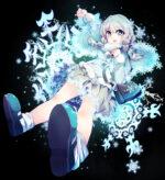 雪の結晶と少女 透過素材