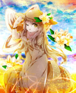 プルメリアの花をイメージしたキャラクター 透過素材