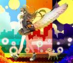 羽の生えたリュックを背負っている少女 透過素材