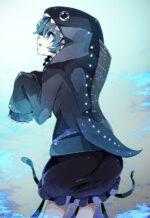 深海魚パーカーを着た少女 透過素材