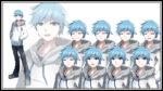 青髪の少年 透過素材 表情差分