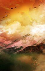 【背景】夕焼けの山岳の背景